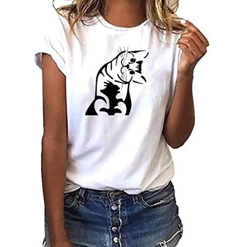 Camiseta de Talla Grande para Mujer,❤️ Amlaiworld Moda Casual Camiseta con Estampado de Gato para niñas Blusa de Manga Corta Blusa Tops Sexy Mujer T-Shirt Pullover