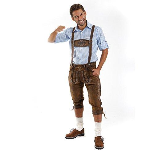 ALMBOCK Lederhose Herren Tracht Kniebund | Lederhose Herren braun aus feinem und antikem Nubukleder | Trachtenhose alt Herren - Trachtenlederhose 52 - 3