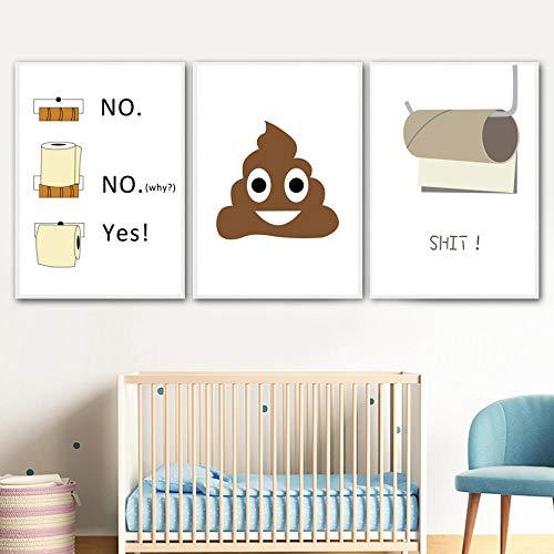 aoyukf Nordic Poster Und Drucke Humor Toilettenpapier Lustige Scheiße Wandkunst Leinwand Malerei Zitate Kunst Bilder Für Toilette Wohnzimmer Decor-Rahmenlose-30X50Cmx3