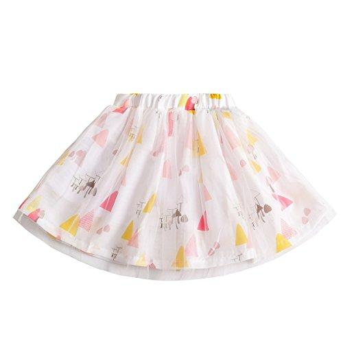 Baby Mädchen Tutu Rock, Baywell A-Linie Blumen Gedruckt Ballettröckchen Mini Rock 3 Schichten (XL/110/4-5 Years, D)
