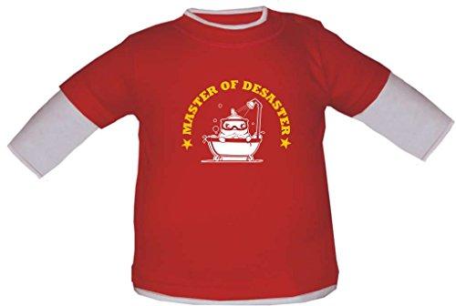 Baby / Kinder Langarmshirt (Farbe Red/White) (Gr. 140 - 152 cm) Master of Desaster / PIOU