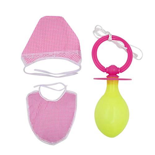 Amosfun 3 Stücke Erwachsene cosplay schnuller trägerhut lustige säuglingskostüm party requisiten für erwachsene männer frauen (rosa) (Big Baby Kostüm Frauen)