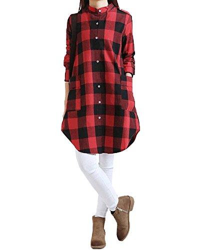 ZANZEA Women Stand Collar Scottish Plaid Check Tartan Casual Tops Shirt