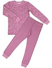 joha de 2piezas niña Función Ropa Interior Bubbles de lana de merino y de algodón ecológico en rosa