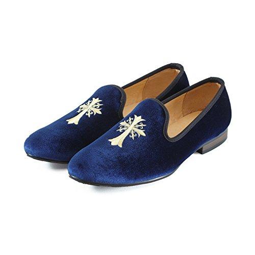Journey West Uomo Annata Ricamo Nobile Velluto Mocassino Scarpe Slip-On Loafer Pantofole per Fumatori Nero/Rosso/Blu Croce Blu