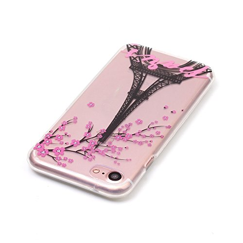 iPhone 7 Hülle,iPhone 7 Schutzhülle,iPhone 7 Silikon Hülle,ikasus® TPU Silikon Schutzhülle Case Hülle für iPhone 7,Durchsichtig mit Bunte Gemalt Muster Handyhülle iPhone 7 Silikon Hülle [Kristallklar  Eiffelturm Pflaumenblüte