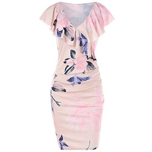 Manadlian Damen Sommerkleid Frauen Lässig gedruckt Floral Volant Halsband Etuikleid