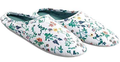 Tchibo TCM Damen Hausschuhe Pantoffeln Slipper Weiß geblümt (41/42)