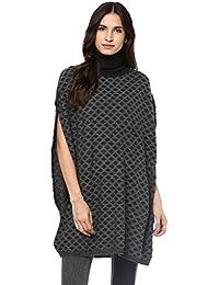 Cayman Women Grey Self-Design Woollen Poncho Sweater