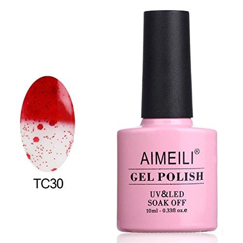 AIMEILI UV LED Gellack Thermo Nagellack farbwechsel ablösbarer Gel Nagellack Gel Nail Polish - Glitter Red to Transparent (TC30) 10ml