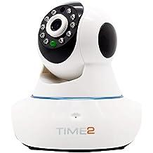 WIFI P2P Cámara IP de Vigilancia HD 720p Cámara de Seguridad con vision Nocturna, detección de movimientos-sonido, Micrófono y altavoz, Alertas móviles y email Tarjeta TF (hasta 64GB) Android | IOS | Windows (Pan/Tilt Rotación 360º Cámara)