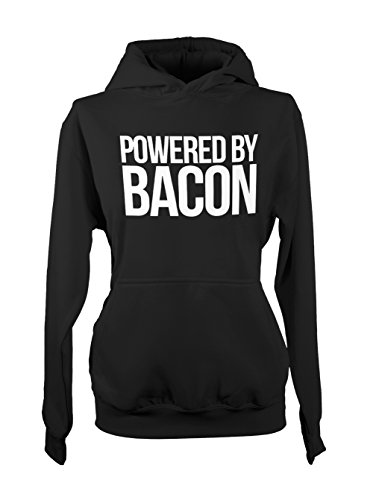 Powered By Bacon Food Amusant Pork Femme Capuche Sweatshirt Noir