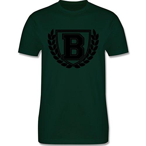 Anfangsbuchstaben - B Collegestyle - Herren Premium T-Shirt Dunkelgrün