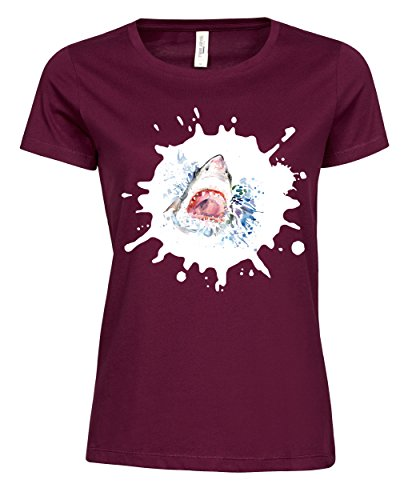 makato Damen T-Shirt Luxury Tee Der Weiße Hai Wine