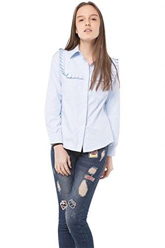 szivyshi Ruffles Blouse Shirt Women Blue Long Sleeve Cute Blouses Female Elegant Casual Top Office Ladies Bleu