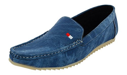 Leatherkraft Men's Blue Denim Loafers-9 (LKLFDNMBL_9)