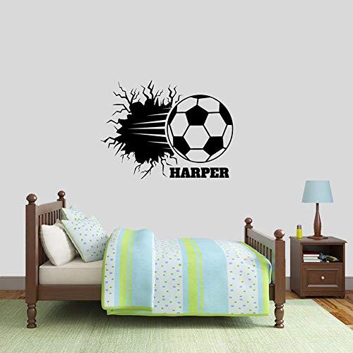 WSYYW Fußball Brechen Wandtattoo Personalisierte Namen Sport Kinderzimmer Umkleideraum Mann Höhle Abnehmbare Vinyl Wandaufkleber König Blau 56x42 cm