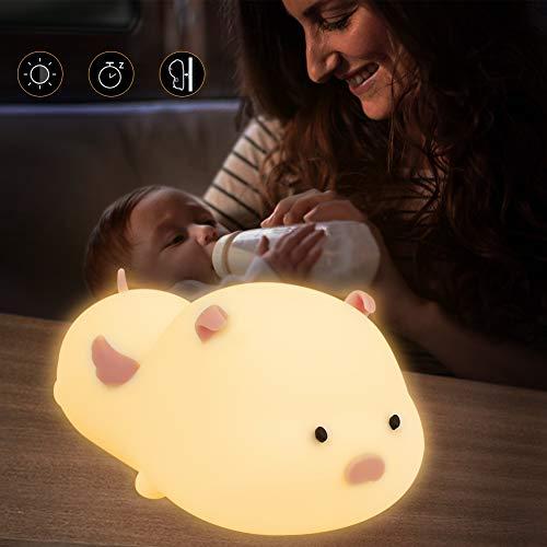 LED Nachtlicht Kinder,Baby Nachtleuchte Silikon LED Nachtlampe mit Touch Schalter Tragbare 7 Farbmöglichkeiten 3 Lichtmodi Baby Nachtleuchte für Babyzimmer, Schlafzimmer, Wohnräume