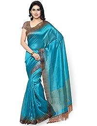 Rajnandini Teal Blue Tussar Silk Plain Casual Wear Traditional Saree For Women