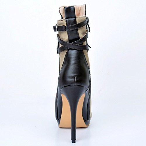Kolnoo Damen Faschion Patchwork Leder Peep-toe Absatz Knöchel Aufladungen Partei Schuhe Gray