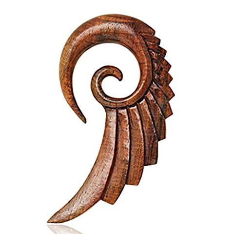 10mm Detailed Swans Wing Organic Sono Wood Spiral Taper Ear Stretcher Earring