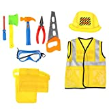 Fenteer 9er-Set Bauarbeiter Kostüm und Werkzeug Set, Geschenk für Kinder