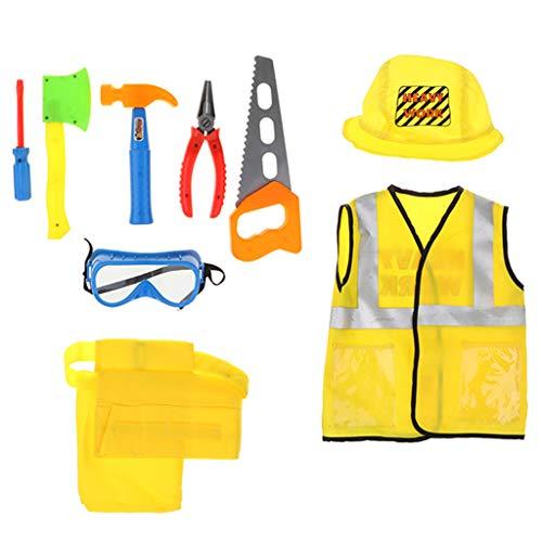 Fenteer 9er-Set Bauarbeiter Kostüm und Werkzeug Set, Geschenk für ()