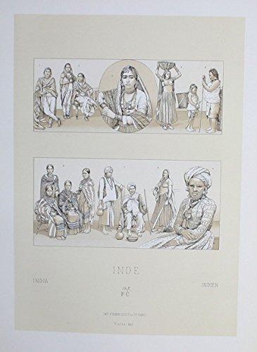 (Grafik Ureinwohner costumes Trachten Indien India Lithographie lithograph)