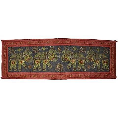 Diseño bordado hecho a mano indio elefante tapiz de pared de 18 x 137,16 cm