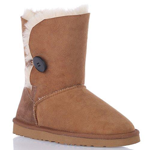 Augroo 5803 Bailey Button Damen Schlupfstiefel Stiefel Boots Frauen Mädchen Winter Warm Schaftstiefel Australia Schaffell Lammfellstiefel Schneestiefel (Chestnut, EU38) (Frauen Tony Boots Lama Für)