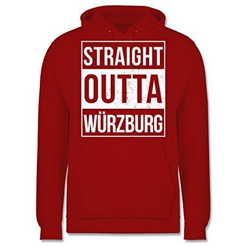 Franken Männer - Straight Outta Würzburg weiss - JH001 Herren Kapuzen Pullover Rot