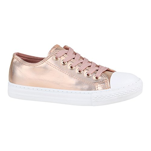 Stiefelparadies Damen Schuhe Sneakers Sportschuhe Schnürer 155791 Rose Gold 36 Flandell (Sneaker Gold In)