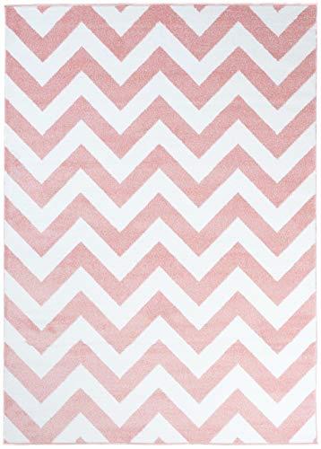 Carpeto Rugs Teppich Kinderzimmer Zick-Zack Muster Jugendizmmer Rosa 80 x 150 cm S