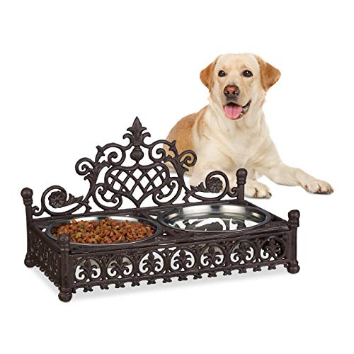 Relaxdays Futterbar für große Hunde, Antik-Stil, XL Hundebar, Gusseisen, Futternapf-Set, 1 Liter Edelstahlnäpfe, braun -