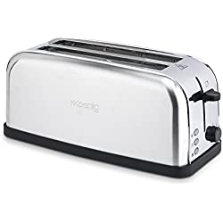 H.Koenig Tos28 Grille Pain Toaster - Spécial Baguette - 4 tranches - fente extra large