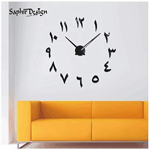 Reloj de Pared 3D árabe con números y manecillas - Negro - XL hasta 130 cm