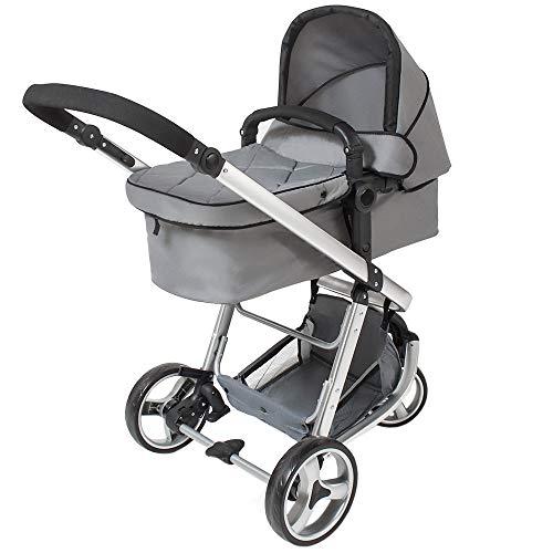 TecTake® 3 in 1 Kinderwagen Kombikinderwagen Buggy Babyjogger Reisebuggy Sportwagen Kids grau mit Moskitonetz und Regenhaube