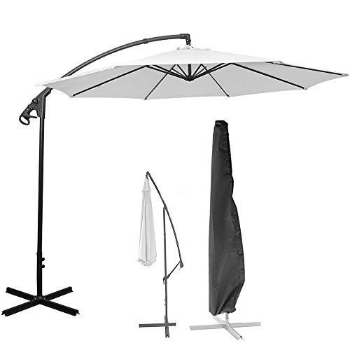 ALLOMN Terrasse Regenschirm Schutzhülle für 9ft bis 11ft, wasserdicht versetzt Sonnenschirm Cantilever Regenschirm Bezug mit Reißverschluss verwendet für Outdoor, Garten, zum Aufhängen, Schwarz (9 Ft Sonnenschirm)