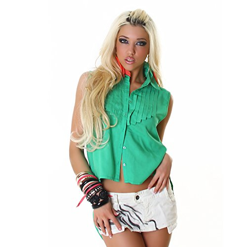 Baufreie/t-shirt pour femme avec franges en s/m/l 36/38 40/cappuccino marron/blanc/noir/vert de voyelles coral Vert - Vert
