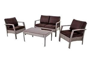 Brema 152.271 Geflechtset Mauritius mit Sitzkissen, Stahlgestell, Kunststoffgeflecht, Set bestehend aus: 2x Sessel, 1x Bank 2-Sitzer, 1x Couchtisch