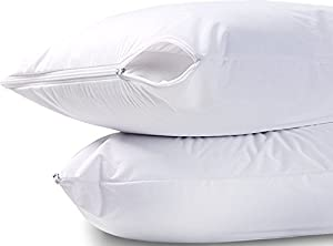 Utopia Bedding Waterproof Zippered Pillow Encasement Bed Bug Proof Pillow Cover Protects Against Dust Mite, Bacteria, Allergens - Polyester Jersey Fabric Pillow Protector by (Standard)