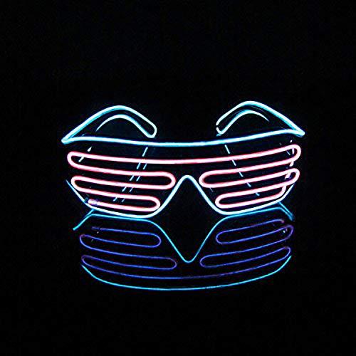 (Queta LED-Licht-Brille Jalousien Cheering Party Bar KTV Bühne Performance Geschenk Spielzeug für die Atmosphäre Ice Blue Frame + pink Mirror)