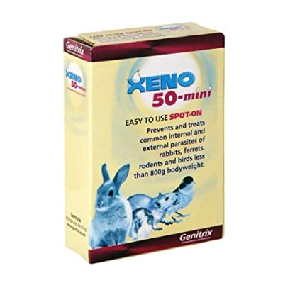 Xeno 50-mini spot-on for Rabbits, Ferrets, Rodents and Birds less than 800g in bodyweight, box of 9 1