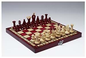 jeu d'échec rouge 31 x 31 cm. Echiquier en bois verni