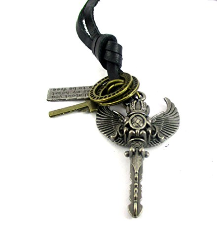Streetsoul Crown With Wings Pendant Antique Silver With Leather Adjustable Necklace For Men.