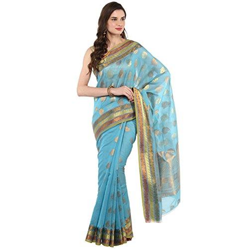 Fasherati Turqoise Color Organza Silk Saree With Brocade Border And Blouse For...