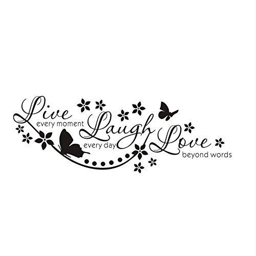 OKJK Einfache Wandaufkleber Leben Lachen Liebe Wandkunst Aufkleber Schmetterling Stern Zitat Abnehmbare Vinyl Wandaufkleber Hausgarten Dekoration 120 * 42 cm (Leben, Lieben, Lachen Bilderrahmen)
