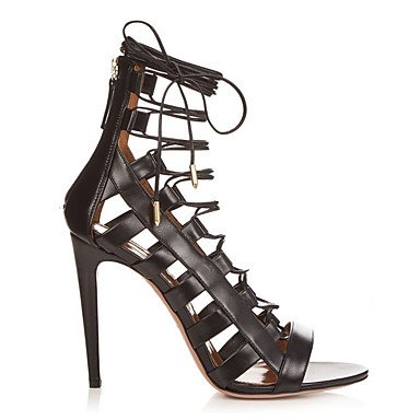 zhENfu Donna Sandali formale moda Scarpe Stivali similpelle Summer Party & abito da sera formale moda Scarpe Stivali Lace-up Stiletto HeelLight Black