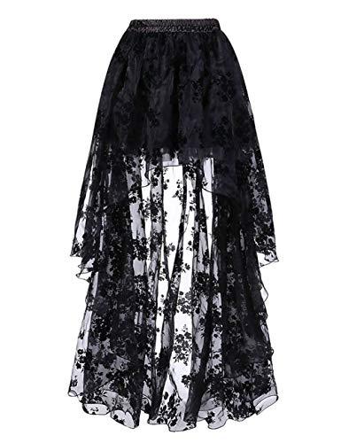 FeelinGirl Damen Amelia Gothic Steampunk gekräuselten Kuchen Rock Styles Low High Gothic Button Rock,Schwarz,M(EU 38-40,Taille 68-72cm)