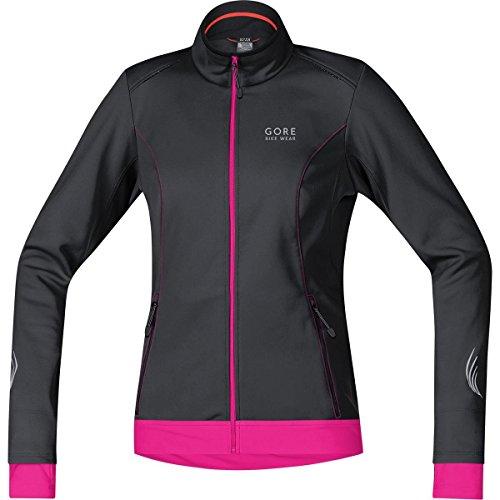 GORE BIKE WEAR Damen Warme Soft Shell Fahrrad-Jacke, GORE WINDSTOPPER, ELEMENT LADY WS SO Jacket, Größe: 36, Schwarz/Magenta, JWELEL